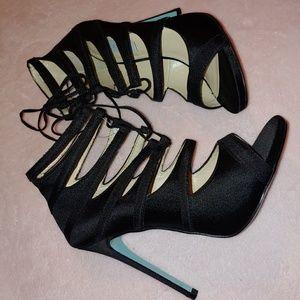 Betsey Johnson black strappy peep heels